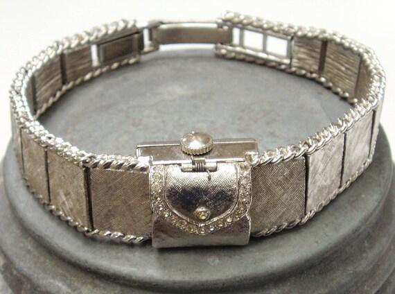 Vintage Watch -- LaMarque Incabloc Ladies Watch, Swiss, Silvertone, Looks Like a Mini Purse