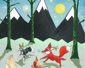 Camping art, Marshmallow Dance- Print, woodland animals, fox, dog, camping, housewares. Baby, kids, art for kids