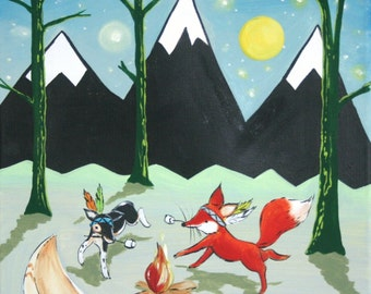 Camping art, Marshmallow Dance- Print, woodland animals, fox, dog, camping, housewares. Baby, kids, art for kids
