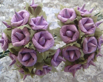 Paper Millinery Flowers 24 Handmade Lavender Blossoms