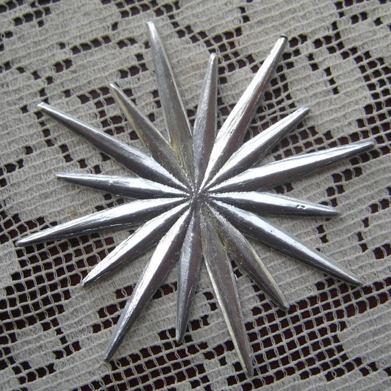 Dresden Trim 3 Silver Stars Made In Germany Die Cuts Christmas