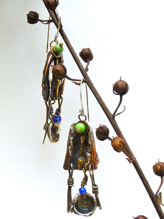 rustic mixed metal dangle earrings