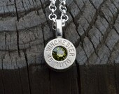 Bullet necklace..... Silver Winchester .45 Auto pendant necklace with Swarovski crystal
