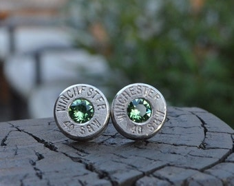 Bullet earrings stud or post, nickel silver Winchester .40 S&W Handcrafted with Swarovski crystals