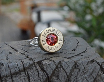 Bullet Shell Ring Handcrafted by me...... Silver Federal .45 auto ring with Swarovski crystal