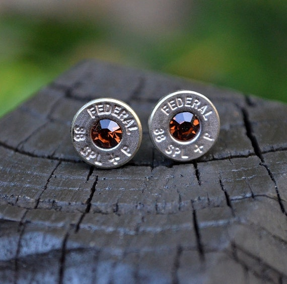 Bullet Earrings stud or post, Nickel Silver Federal .38 Special Handcrafted with Swarovski crystals