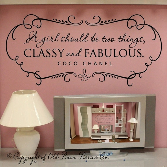 A girl should be CLASSY and FABULOUS with shabby chic border - vinyl wall decal coco chanel quote