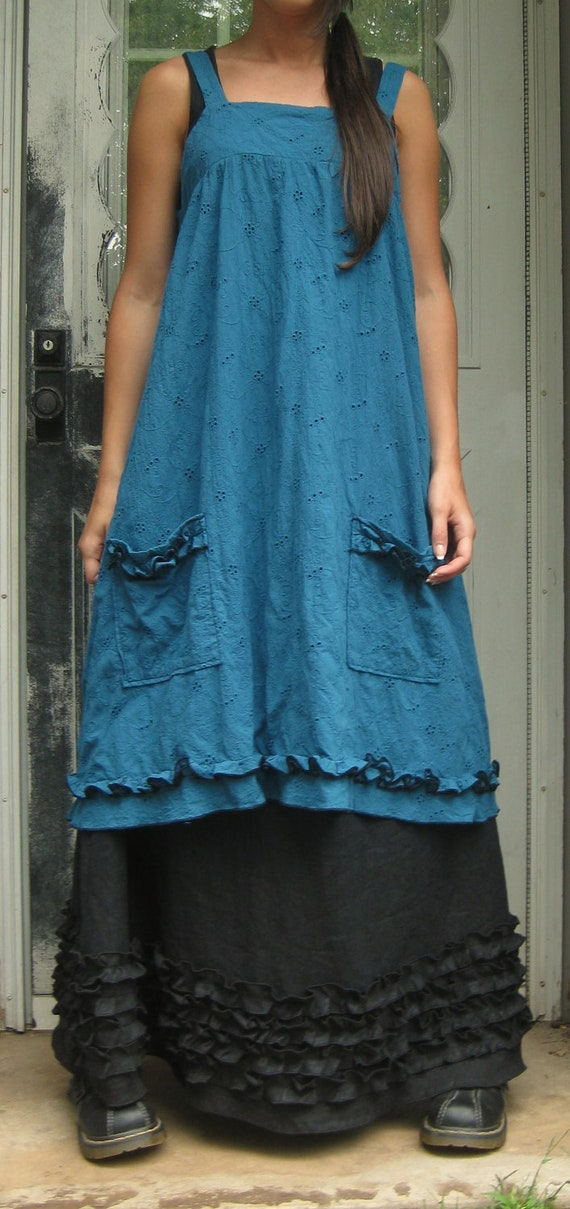 Teal Eyelet Short Pinafore M