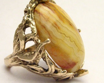 Handmade 14kt Gold Crazy Lace Agate Massive Claw Ring