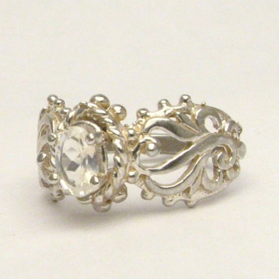 Sterling Silver Moonstone Filigree Ring Gemstone Ring