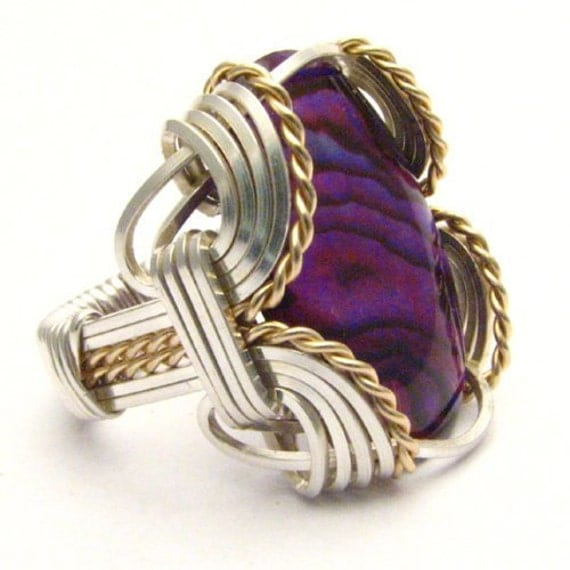 Handmade Wire Wrap Sterling Silver/14kt Gold Filled Red Paua Ring