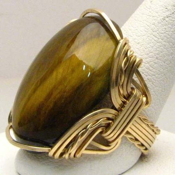 Handmade 14kt Gold Filled Wire Wrap Tiger Eye Ring