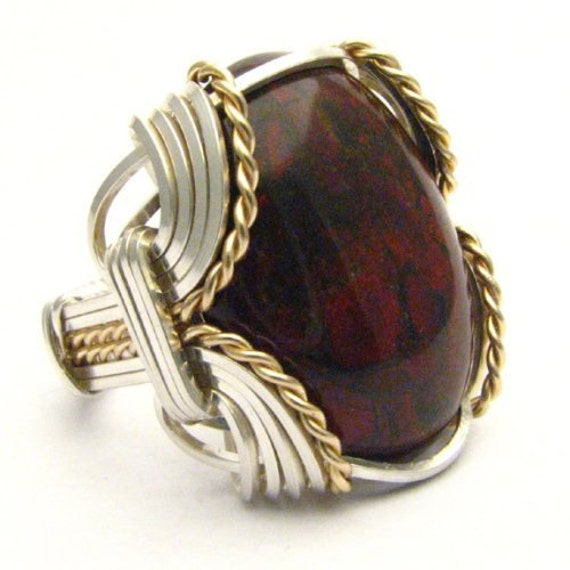 Handmade Wire Wrap Sterling Silver/14kt Gold Filled Poppy Jasper Cabochon Ring
