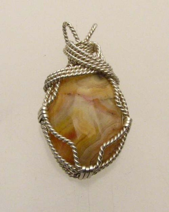 Handmade Solid Sterling Silver Wire Wrap Crazy Lace Pendant