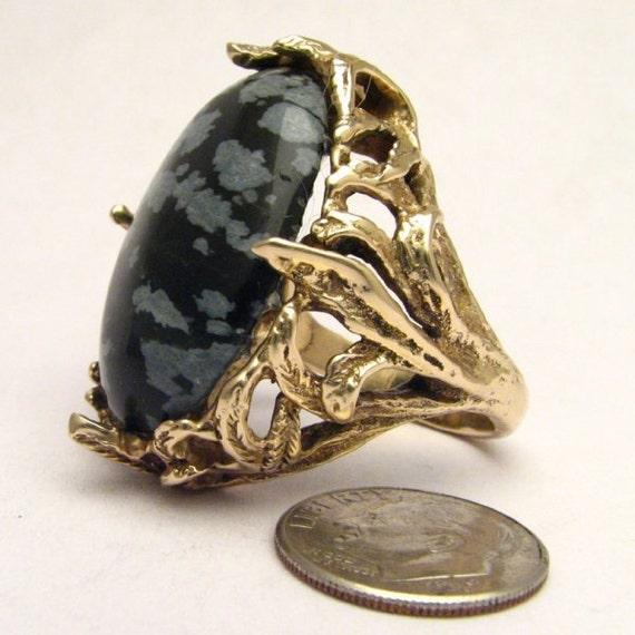 Handmade 14kt Gold Black/White Snowflake Agate Massive Claw Ring
