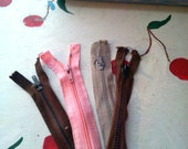 ZIPPERS VINTAGE RECYCLED Pink Brown Beige Set of Four