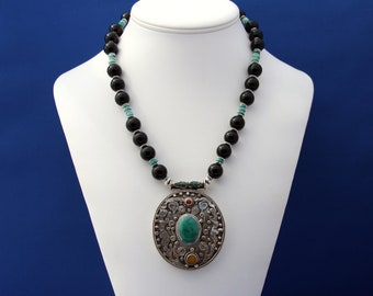 Nepalese Pendant Turquoise and Onyx Necklace For Men Statement July Birthstone December Birthstone 7th 10th and 11th Anniversary