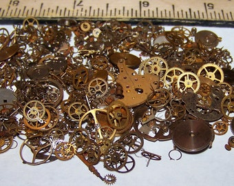 20g Pieces Steampunk Watch Part Lot  BULK Package Shown Vintage Antique OLD Gears