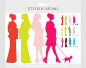 Pregnant mom clipart - chic moms, chic pregnancy clip art, pregnant ladies, fashionistas, girls, elegant, women, clipart for baby showers