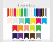 Flags clipart for digital scrapbooking - digital flags, tags, thin and wide versions, stitched, colorful, colors for personal commercial use