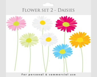 Daisies clipart - spring clip art,  flowers blooms, posies, floral, floral clipart, pink, blue, yellow, for personal and commercial use