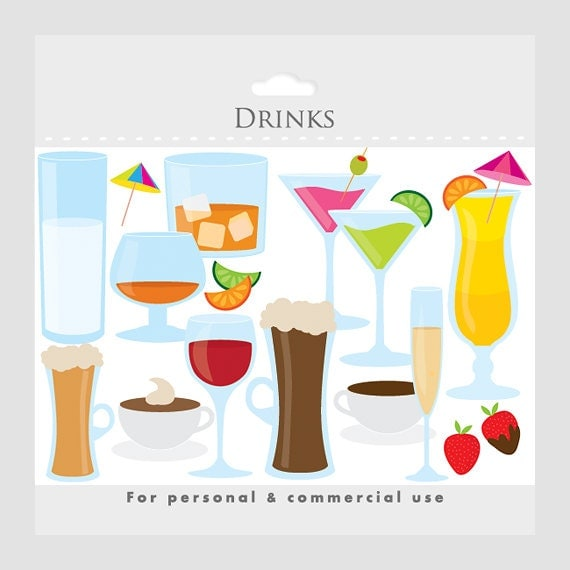 Drinks clipart, cocktails clipart, beverages clipart - martini, wine, beer, fruit cocktails, champagne personal and commercial use