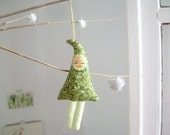 Christmas Tree Plush Ornament Green Redhead Moustache