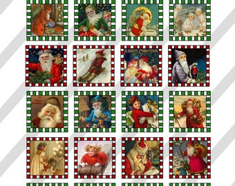 Digital Collage Sheet  Altered Art Slide Images 1 inch and  1.5 X1.5  Christmas  (Sheet no.O96) Instant Download