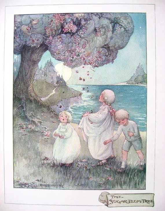 Vintage 1915 The Sugar Plum Tree Child's Illustration, Print to Frame by Ann Anderson, Sleep Theme, Nursery, Poem