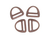 4 Slotted D-Ring Links Antique Copper D Rings TierraCast Pewter Leather Findings - Supplies for Leather or Ribbon Jewelry (PF622)