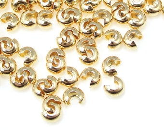 144 Gold Crimp Covers - 3mm Crimp Cover Findings - Gold Plated Crimp Ends - Bright Gold Findings - Crimp Findings (FB11)