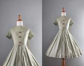 1950s Dress / Unworn with Original Tags / Vintage 50s Full Skirt Day Dress
