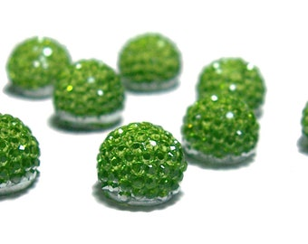 8mm flatback ball cabochon resin rhinestone half bead in Peridot green