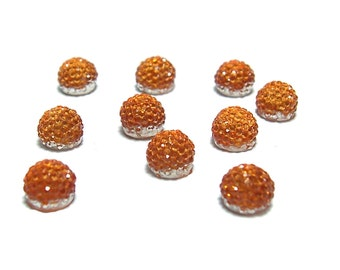 6mm flat back ball cabochon resin rhinestone half bead in orange