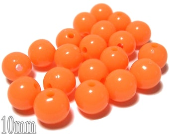 10mm Opaque acrylic plastic beads in Light Tangerine 20 beads