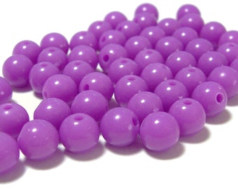 8mm Smooth Round Acrylic Beads in Orchid 50 beads