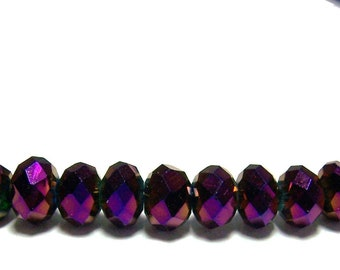 4x6mm Chinese faceted glass crystal beads in Metallic Purple AB 25pcs