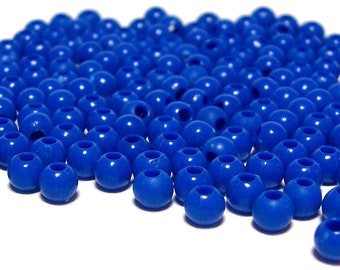 4mm Smooth Round Acrylic Beads in Dark Blue 200 beads