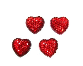 15mm Siam Red color heart shaped resin rhinestone cabochon 4pcs