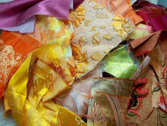DESTASH Lot of Fabric Scraps in Orange Yellow Pink - Silk Satin Brocade Velvet