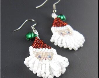 Santa Baby Christmas Beadwork Dangle Seed Bead Earrings