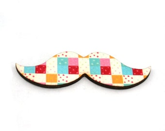Moustache Brooch, Block Pattern, Movember Facial Hair Accessory, Father's Day Gift
