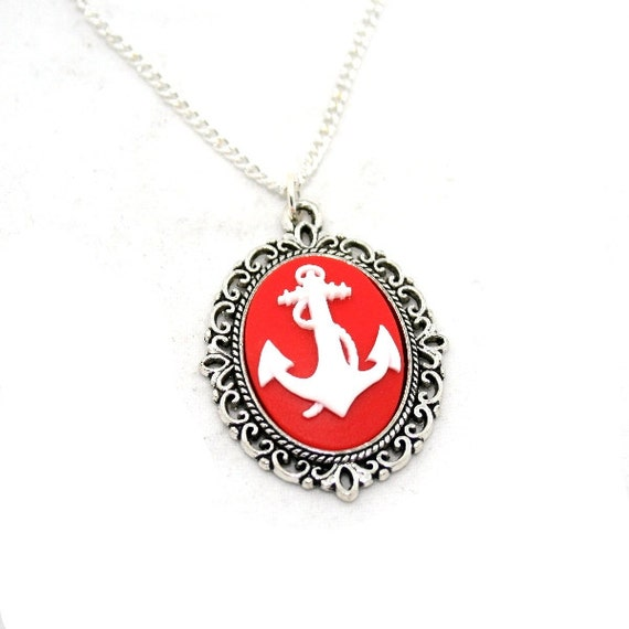 Red Anchor Necklace, White Nautical Cameo