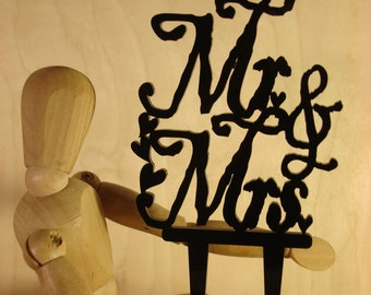 Mr & Mrs Cake Wedding Cake Topper, Table Decoration, Party Centerpiece, Anniversary