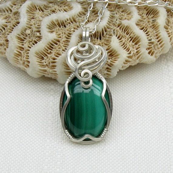 Malachite Necklace - Malachite Pendant -  Christmas Necklace - Sterling Silver