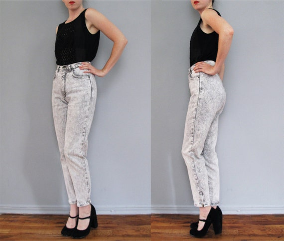 1980s ACID WASHED high waisted skinny jeans w/ ankle zipper XS S