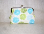 Blue & Green Peony with Green Scale Lining - Perfect EveryDay, Evening or Bridal Clutch