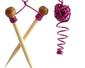 Knitting Needles and Yarn Earrings in Magenta Pink