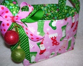 Christmas Fabric Organizer Bin Storage Container Pink and Green Stockings