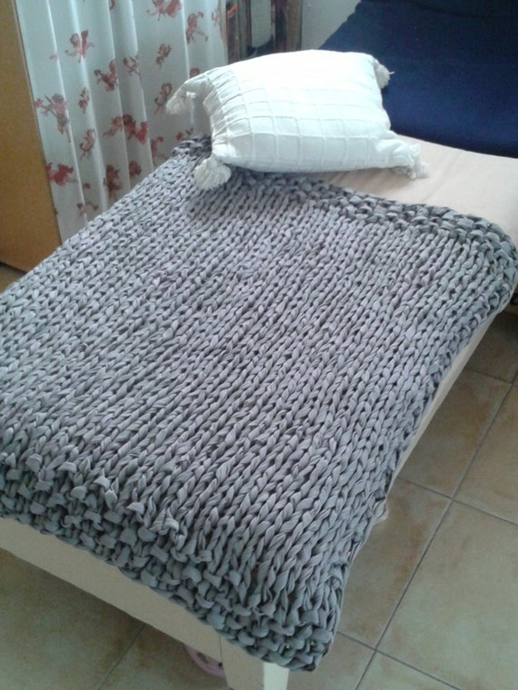 Hand Knitted Bed Cover Rug Made From Recycled Tricot Yarn Ooak